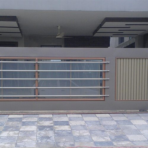 Fancy fabricated steel door with glass interior